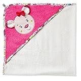 Fehn 076851 Kapuzenbadetuch Sweetheart – Bade-Poncho aus Baumwolle mit niedlichem Rehkitz für Babys und Kleinkinder ab 0+ Monaten – Maße: 80 x 80 cm