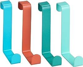 WENKO Deurgarderobehaken set van 4 - deurgarderobe 4 haken, staal, 7,6 x 1,2 x 6 cm, gesorteerd