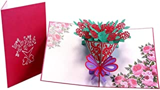 L&Z 3D Creative Carving Of Rose Bouquet Pop Up Handmade Greeting Cards for Mother's Day, Valentine's Day, Birthday, Anniversary Cards, A Small Gift for Expression