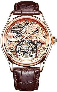 LIGUANGWEN - LIGUANGWEN Hombres Reloj Original Impermeable Masculino Zafiro Mecánico del Relogio (Color : Ivory)