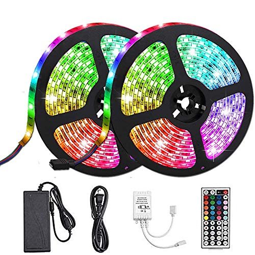 Petsmoe Led Strip Lights, IP65 Waterproof SMD 5050 RGB Color Changing 32.8 feet/10 Meters Tape...