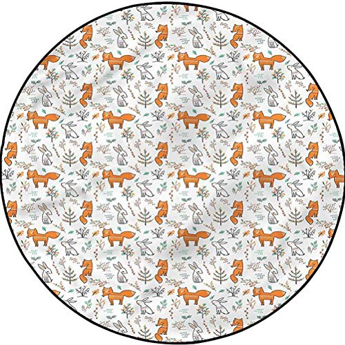 Doodle Round Area Carpet Bedrooms Laundry Room Decor Vintage Woodland Rabbit Fox Diameter 23.6 in(60cm)
