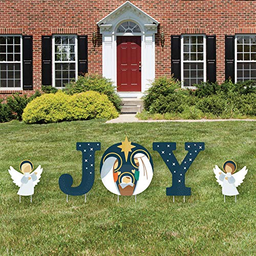 Big Dot of Happiness Holy Nativity - Yard Sign Outdoor Lawn Decorations - Manger Scene Religious Christmas Yard Signs - Joy
