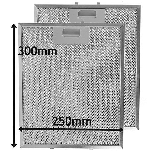 SPARES2GO Fettfilter für Dunstabzugshauben mit Metallgitter für Küchenabzugshauben (Packung mit 2 Filtern, Silber, 300 x 250 mm)