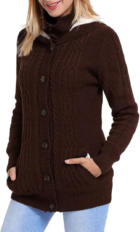 Xswsy XGCA Women Coat Warm Fleece Lined Knitting Hooded Cardigan Sweaters Coat
