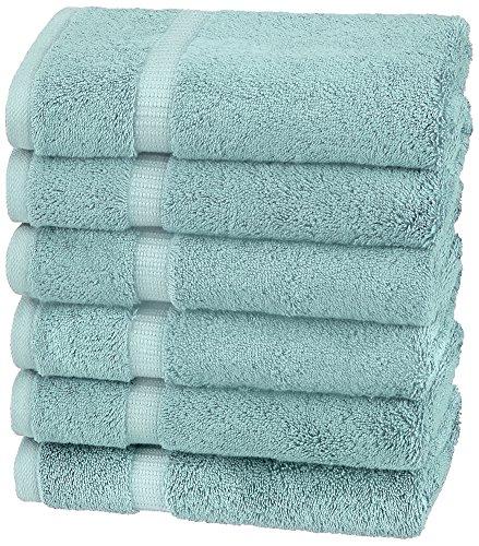 Amazon Brand – Pinzon Organic Cotton Hand Towels, Set of 6, Spa Blue