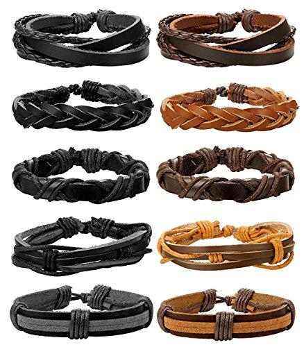 BESTEEL Schmuck 10 Stücke Leder Armbänder für Herren und Damen Armband Geflochten Länge Elastisch