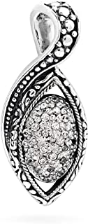 Deni Jewelry 925 Sterling Silver Pendant with Marquise Shape and set with Cubic Zirconia Gemstone and Water Rope Motif for...