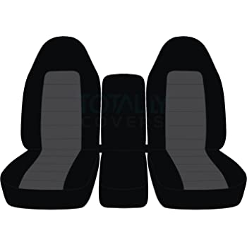 Front: Black and Gray with Center Console w//wo Separate Headrest Covers 40//20//40 Split Bench 3rd Gen Dodge Ram Two-Tone Truck Seat Covers Totally Covers Compatible with 2002-2005 21 Colors