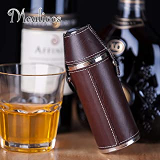 Mealivos 8 oz Leather Hip Flask with Shot glass