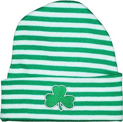 Irish Baby Shamrock Stripe Knit Cap Kelly/White
