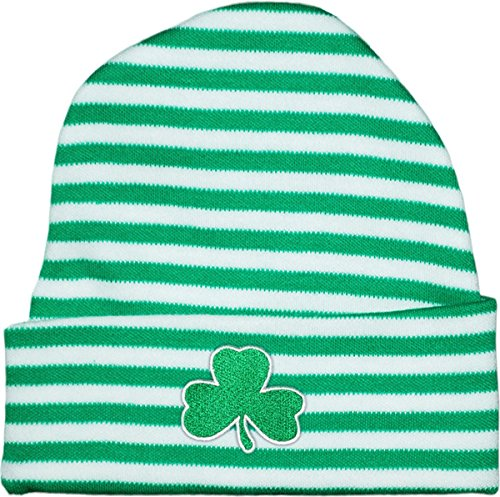 Irish Baby Shamrock Stripe Knit Cap Kelly/White