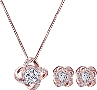 Best rose gold pendant and earrings Reviews
