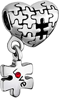 Lifequeen Love Mother Daughter Heart Puzzle Piece Charms Beads for European Bracelets
