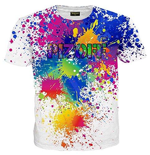 PIZOFF Unisex Casual Short Sleeve Hip-hop Color Paint Splatter Shirt 3D Printing T Shirts