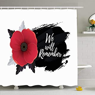 Ahawoso Shower Curtain Set with Hooks 72x78 Memorial Remembrance Design Poppy Day We Will Message Remember UK Front Textures Flanders Holidays Waterproof Polyester Fabric Bath Decor for Bathroom