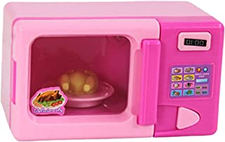 Flameer Plastic Simulation Miniature Home Appliance Kids Children Pretend Role Play Toy - Pink Microwave Oven