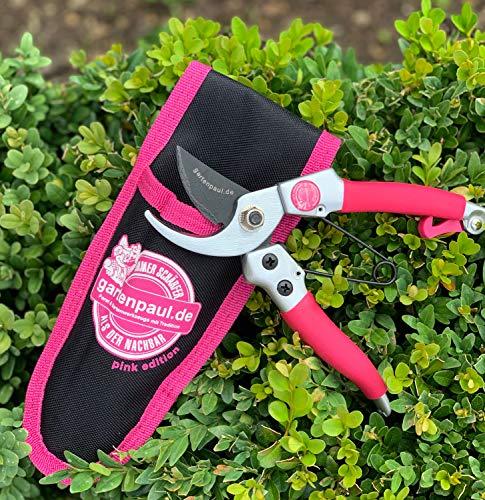 GARTENPAUL | Pink Edition | Bypass Gartenschere Lady mit Gürteltasche | Damengartenschere | Limitierte Auflage