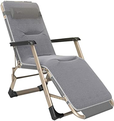 Zero Gravity Chairs Sunbed Reclining Garden Chair Deck Chairs Sun Loungers with Cotton Pad and Headrest Adjustable Folding Oxford Cloth for Patio Living Room