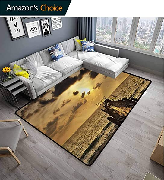 Landscape Natural Fiber Area Rug For Baby Nursery Wooden Deck Sunset Pattern Printing Carpet Easy Maintenance Area Rug Living Room Bedroom Carpet 2 X 6
