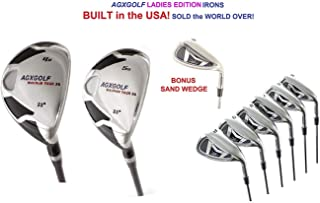 AGXGOLF Ladies XL Tour All Graphite Edition Stainless Steel Irons Set w/4 & 5 Hybrids + 5-9 Irons + Pitching Wedge + Sand Wedge: Petite, Regular or Tall Length; Right Hand: USA Built!
