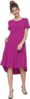 Weintee Women's Flowy High-Low Dress with Pockets