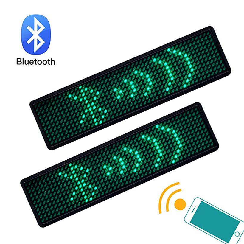 Jahuite 2-Pack New Wireless Bluetooth LED Name Tag Rechargable Cellphone Programmable with Magnet/Pin Mount Business Name Badge (Green)