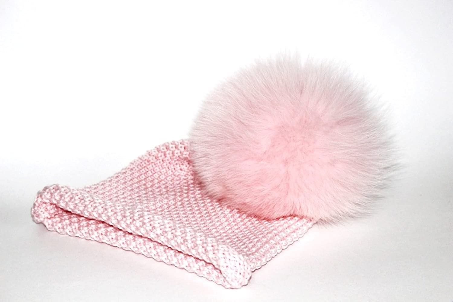 Lindo F Merino Wool Waffle Toque in Pink Dust with Pink Dust Fox Fur Pom Pom