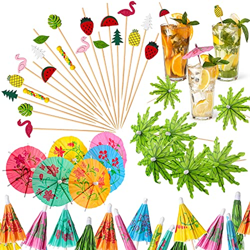 160 Pieces Cocktail Picks 4.7 Inch Fruit Sticks Bamboo Toothpicks Green Tropical Coconut Palm Christmas Tree Paper Umbrellas and Colorful Drink Umbrellas for Luau Hawaii Beach Party (Stylish Style)