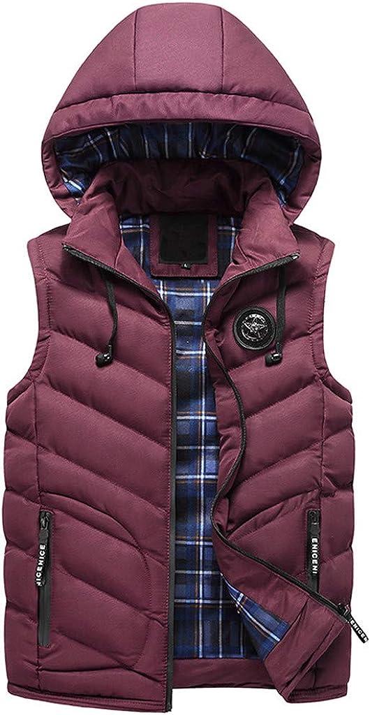 Men's Puffer Vest Jacket with Hood, NRUTUP Down Jacket Sleeveless Overcoat Outdoor Water-Resistant Body Warmer