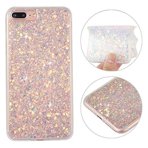 iPhone 8 Plus Glitzer Hülle, iPhone 7 Plus Bling Case, Rosa Schleife TPU Silikon Rubber Case 3D Shiny Transparent Back Cover Glitzer Handyhülle Skin Schale Beschützer Haut Case für iPhone 7 Plus Lila