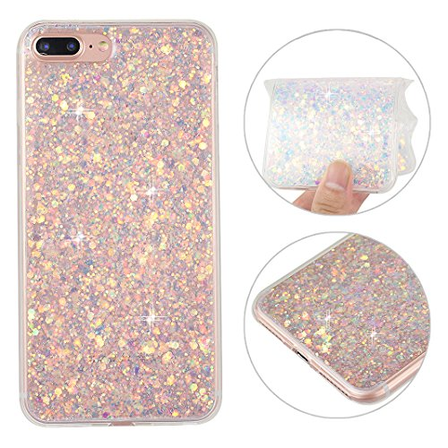 iPhone 8 Plus Glitzer Hülle, iPhone 7 Plus Bling Case, Rosa Schleife TPU Silikon Rubber Case 3D Shiny Transparent Back Cover Glitzer Handyhülle Skin Schale Beschützer Haut Case für iPhone 7 Plus Lila