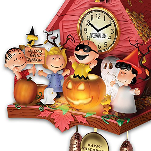 The Bradford Exchange Peanuts Halloween Party Cuckoo Clock with Lights Music Motion