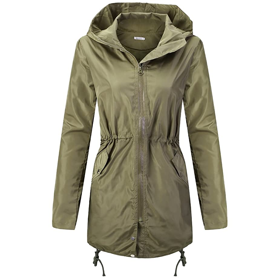 Wonvatu Womens Rain Jacket Waterproof with Hood Lightweight Rain Trench Coat Long Sleeve Black Windbreaker for Ladies