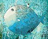 WONZOM Dipingere con i Numeri Kit per Adulti, DIY Dipinto Dipingi per Numero Kit su Tela 16 * 20 Pollici - Pesce Pittura Astratta Senza Cornice