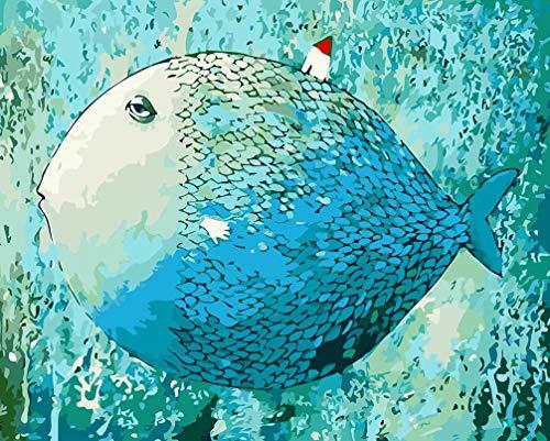 WONZOM Malen nach Zahlen für Erwachsene, DIY Malen nach Zahlen Kits auf Leinwand 16x20 Zoll - Fisch abstrakte Gemälde Ohne Rahmen