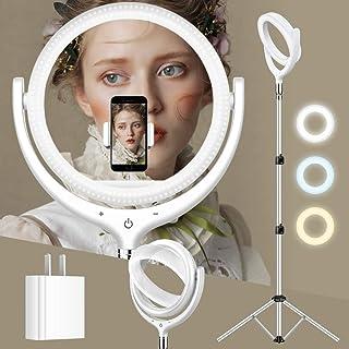 Tresbro 最新版 LEDリングライト 三脚 撮影用リングライト三脚 ・タッチセンサーとメモリー機能付き・ 3モード10段階調光可能 ・270°前傾可能・90cm~180cm 伸縮スタンド ・外径30cm/10in USB充電 女優ライト ...