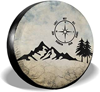 HAINANBOY Not All Who Wander are Lost Spare Tire Covers Potable Wheel Covers Weather-Proof for Trailer RV SUV Truck Camper Travel Trailer Accessories 14 15 16 17 Inch(14inch)