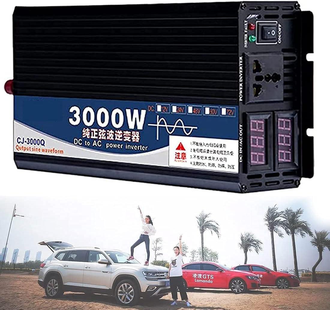 GZTYLQQ 3000W 4000W 5000W Inversor de energía de Onda sinusoidal Pura 12V 24V 48V 60V a 110V 220V DC a AC con Tomas de Corriente alterna, Puerto USB de Pantalla LCD, para Coche, vehículo recreativo,