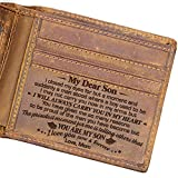 Engraved Bifold Wallet - Mom To Son - I Love You Now And Forever. (AMZ-W04-008-MomSon) Christmas Gift for Men