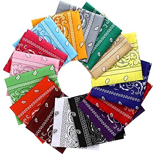 16 Pcs Bandanas Multi-Purpose Multicolor Headband for Women Men Boys Girls