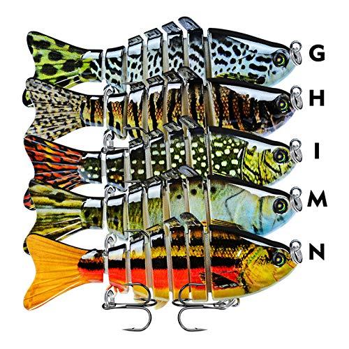 CHSEEO 1PC Señuelos de Pesca Multi-articulado Cebo Duro Swimbait Cebo de Pesca Crankbait Gancho Agudos Cebos Artificial 7 Segmento 10 cm/ 15.5g (Colores aleatorios)#2