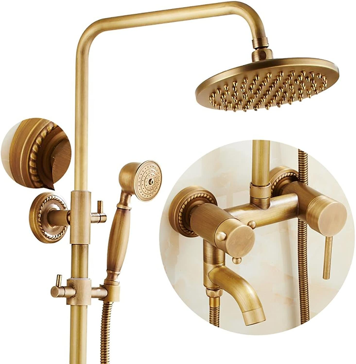 PLYY Shower System Shower Sets Shower Head Handheld Showerhead Three Holes Wall Mounted Brass