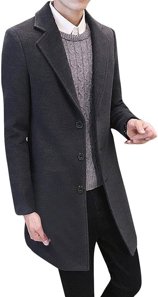 Men's Casual Jacket Men Formal Single Breasted Overcoat Long Wool Jacket Outwear Top Coats Trenchcoat(Gray,XXXXL)