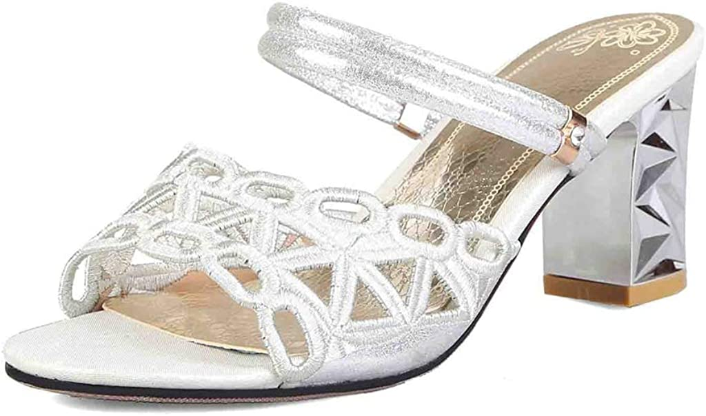 MIOKE Women's Block Heel Slide Sandals Fashion Open Toe Hollow Out Comfort Chunky Dress High Heeled Sandal