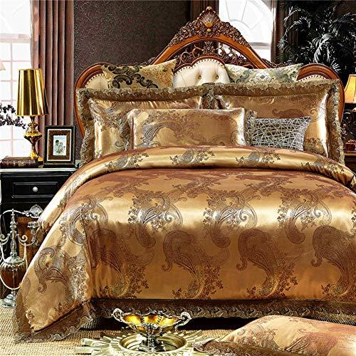FYHH-JZHY Golden Satin Bettwäsche-Sets Queen/King Size Bettset Baumwollbettlaken Bettbezug (Grau, König 4 Stück)