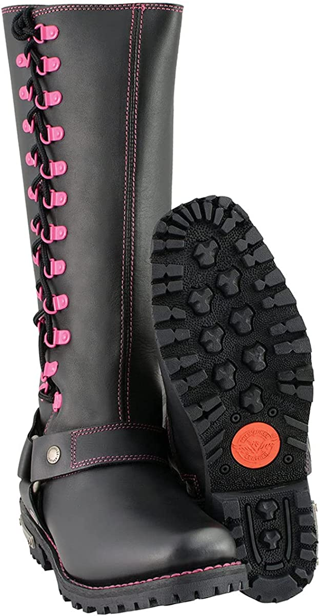 Milwaukee Leather MBL9367 Ladies Black 14-inch Leather Harness Boots with Fuchsia Accent Lacing - 10.5