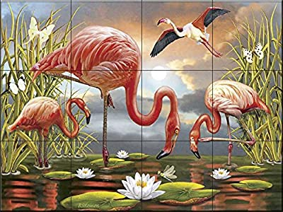 Ceramic Tile Mural - Flamingos- by Rosiland Solomon - Kitchen backsplash/Bathroom Shower