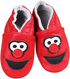 Baby Moccasins with Elmo Inspired Design for Boy Girl Infant Toddler Pre Walker Crib Shoe XS (4.5 Inches)