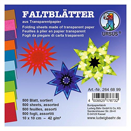 Ursus 2646899 - Faltblätter Transparentpapier, ca. 10 x 10 cm, 42 g/qm, 500 Blatt, sortiert in 10 Farben